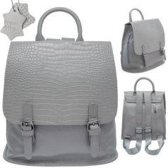 Рюкзак-мини FLAVIO FERRUCCI, молодежный, серый,фурнитура-пушечный металл, н/кожа, 28.5x21x10 см,