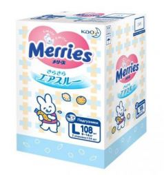 MERRIES Подгузники для детей размер L 9-14 кг 108 шт