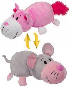 Подушка вывернушка 1toy Розовый кот-Мышка плюш 35 см