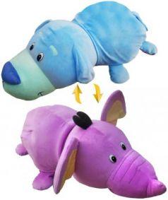 Подушка вывернушка 1toy Голубой Щенок-Фиолетовый Слон плюш 76 см