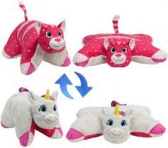 Подушка вывернушка 1toy Белый Единорог-Розовая Кошечка плюш белый розовый