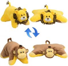Подушка вывернушка 1toy Лев-Обезьянка плюш коричневый желтый