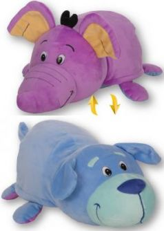 Подушка вывернушка 1toy Голубой щенок-Фиолетовый слон — 40 см