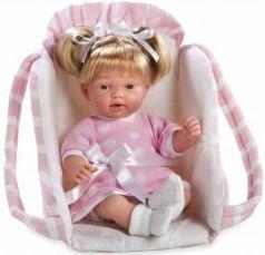 Arias ELEGANCE мягк кукла 28 см. со звук. эфф. смех (3хLR44/AG13), с соской, в переносном розовом кресле, девочка, пакет 53*36*38 см.
