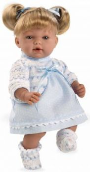 Arias ELEGANCE мягк кукла 28 см., со звук. эфф. смех при нажатии на животик (3хLR44/AG13), голубое платье, коробка 20*12*35 см.