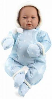 Arias ELEGANCE мягк пупс 45 см., в одежед, голуб., с соской, со звук. эфф. плач при нажатии на животик (3хLR44/AG13), в коробке с окошком 35*20*31 см.