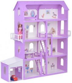 Дом для кукол Коттедж Александра бело-сиреневый с мебелью