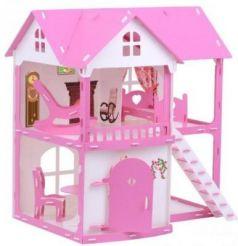 Домик для кукол Коттедж Светлана  бело-розовый с мебелью