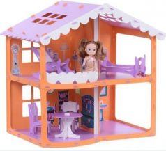 Домик для кукол Дом Анжелика оранжево-сиреневый с мебелью