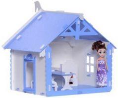 Домик для кукол  Деревенский домик Маруся бело-синий с мебелью