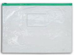 Папка на молнии прозрачная, зеленая молния, ф.A4, 160мкм, с карманом