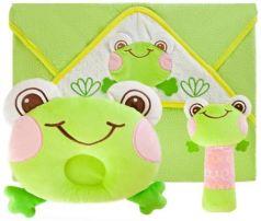 """Подарочный набор """"Забавный лягушонок"""": полотенце, погремушка и подушка"""