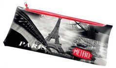 Пенал на молнии, ПАРИЖ, размер 24х12 см, 1 отд., материал РР, плотность 280 мкр.