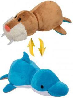 Подушка вывернушка 1toy Дельфин-Морж плюш 40 см