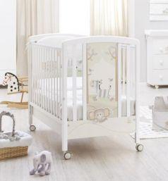 Кроватка Italbaby Zebry (белый/аппликация: зебрёнок-cлонёнок деревья-птички)