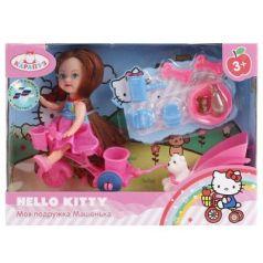 Кукла КАРАПУЗ HELLO KITTY. МАШЕНЬКА НА ВЕЛОСИПЕДЕ С ПРИЦЕПОМ 12 см MARY0816-BB-HK