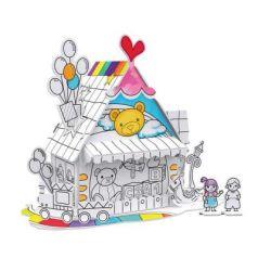 Пазл-раскраска Игрушечный домик (5 фломастеров в комплекте)