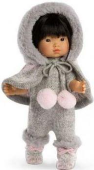 Кукла Валерия азиатка в сером 28 см