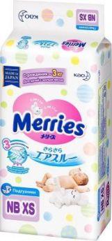 MERRIES Подгузники для детей с малым весом размер NB XS до 3 кг, 38 шт