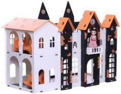 Домик для кукол  Замок Джульетта бело-черный с мебелью
