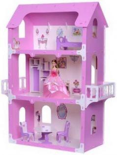 Домик для кукол  Коттедж Екатерина бело-розовый с мебелью