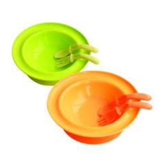 Тарелка с присоской в наборе с ложкой и вилкой