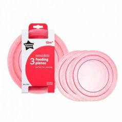Тарелка Tommee Tippee Набор плоских тарелочек для начала кормления 3 шт розовый от 1 года 00-0015516