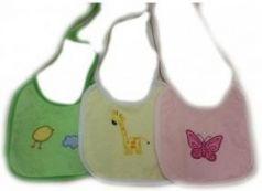 Набор нагрудников с вышивкой, 2 слоя, 100% хлопок, 3 шт. в упаковке, сердца (BN00604)