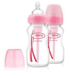 Набор из двух бутылочек противоколик. с широким горлышком, розовых (2шт. - 270 мл.)