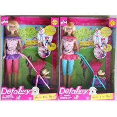 Кукла DEFA LUCY Прогулка с собакой 12 см 8205