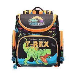Рюкзак GRIZZLY RA-870-6/1 Динозавр REX (черно-оранжевый) с мешком для обуви