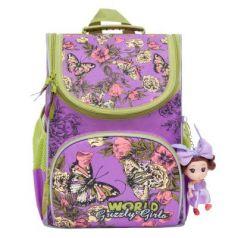 Рюкзак GRIZZLY RA-873-4/1 Бабочки (лиловый) с мешком для обуви