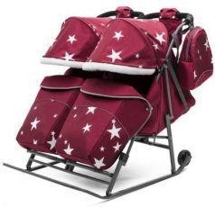 Санки-коляска  для двойни Pikate TWIN Звезды, цвет бордо, Pikate