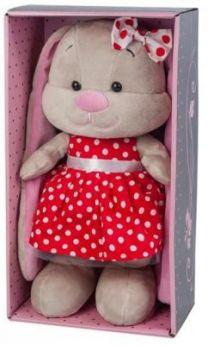 Мягкая игрушка заяц Jack Lin Зайка в Красном Платье искусственный мех трикотаж пластмасса 25 см