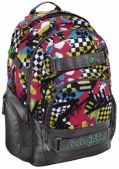 Школьный рюкзак светоотражающие материалы Coocazoo CarryLarry2: Checkered Bolts 30 л серый красный 00129970
