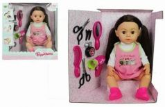 Кукла Валентинка 43см, с набором парикмахера .8 предм., ходит на горшок, закрыв.глаза, ножки гнутся