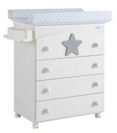 Комод пеленальный Micuna Baby Star B-970(Цвет комода: White/Grey  Матрасик: Stars Grey)