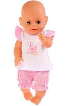 """Одежда для кукол Карапуз розовый костюм шорты и маечка """"царевна лебедь"""""""
