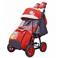 City-1 Мишка со звездой на красном на больших колёсах Ева+сумка+варежки