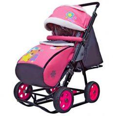 Санки-коляска SNOW GALAXY City-1 Мишка со звездой на розовом на больших колёсах Ева+сумка+варежки