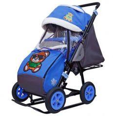 City-1-1 Зелёный Мишка на синем на больших надувных колёсах+сумка+варежки
