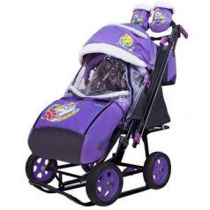 City-2 Серый Зайка на фиолетовом на больших колёсах Ева+сумка+варежки