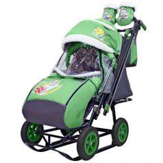 City-2-1 Серый Зайка на зелёном на больших надув колёсах+сумка+варежки