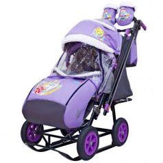 City-2-1 Серый Зайка на фиолетовом на больших надувн колёсах+сумка+варежки
