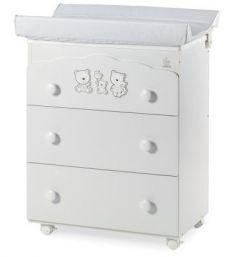 Комод пеленальный Happy Family (3 ящика), белый