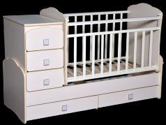 Кроватка с маятником Антел Ульяна 1 (фигруная спинка/слоновая кость)
