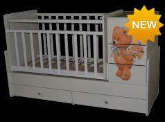 Кроватка с маятником Антел Ульяна 2 (прямая спинка/мишка/белый)