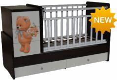 Кроватка с маятником Антел Ульяна 2 (прямая спинка/мишка/венге-белый)