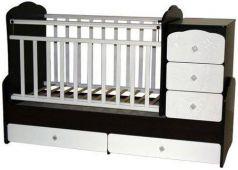 Кроватка с маятником Антел Ульяна 1 (жираф/венге-белый)