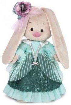 """Мягкая игрушка зайка BUDI BASA """"Зайка Ми-барышня в персидском зеленом"""" искусственный мех ткань 25 см"""